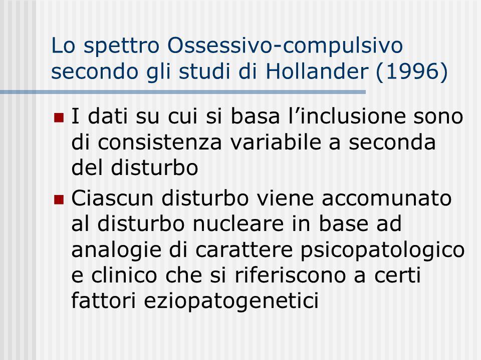 Lo spettro Ossessivo-compulsivo secondo gli studi di Hollander (1996) Terzo cluster: disturbi neurologici con caratteristiche compulsive (autismo, sin