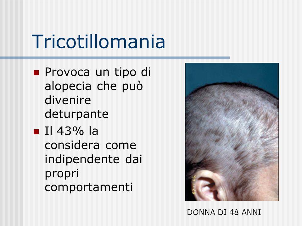 Differenze I pazienti tricotillomanici, a differenza dei pazienti DOC non si strappano i capelli come risposta a pensieri ossessivi, ma come risultato