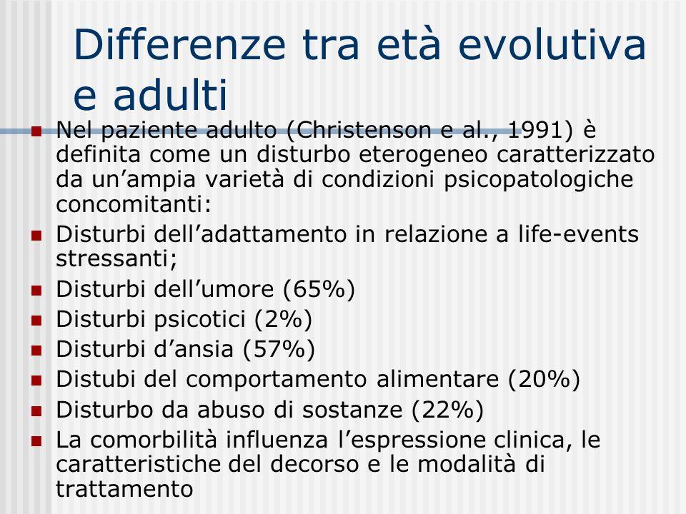 Differenze tra età evolutiva e adulti In età evolutiva (maschi e femmine sono equamente rappresentati) è stata interpretata come un segnale di disagio