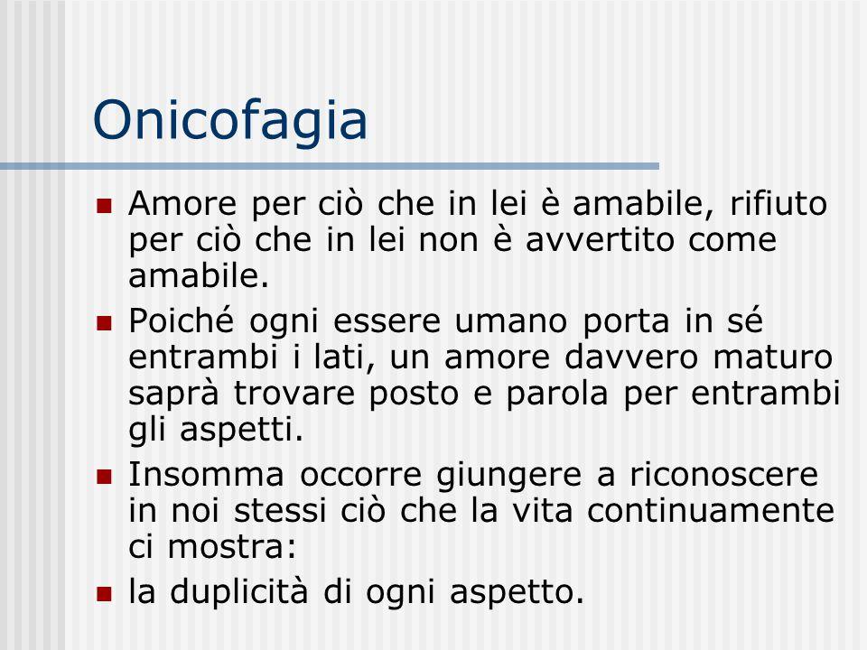 Onicofagia Il superamento del sintomo è subordinato solo alla presa in carico coscienziale da parte del soggetto di ciò che esso sintomo svela mentre