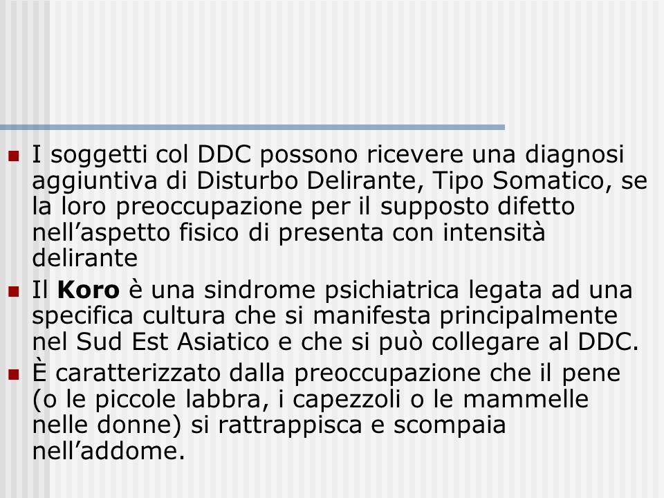 Diagnosi differenziale La diagnosi di DDC non può essere fatta se la preoccupazione è attribuibile ad un altro disturbo mentale Altrettanto se il dist