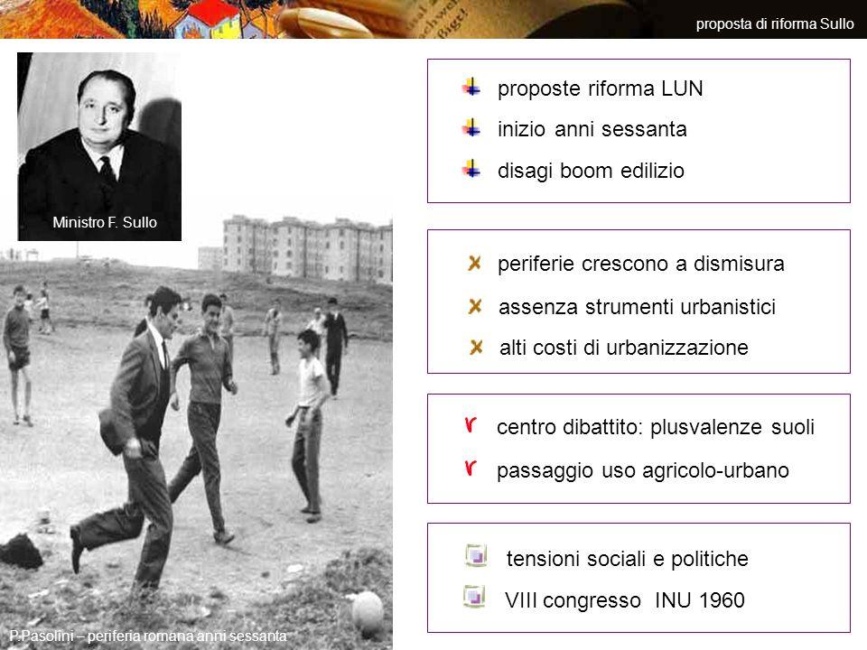 proposta di riforma Sullo P.Pasolini – periferia romana anni sessanta proposte riforma LUN disagi boom edilizio inizio anni sessanta periferie crescon