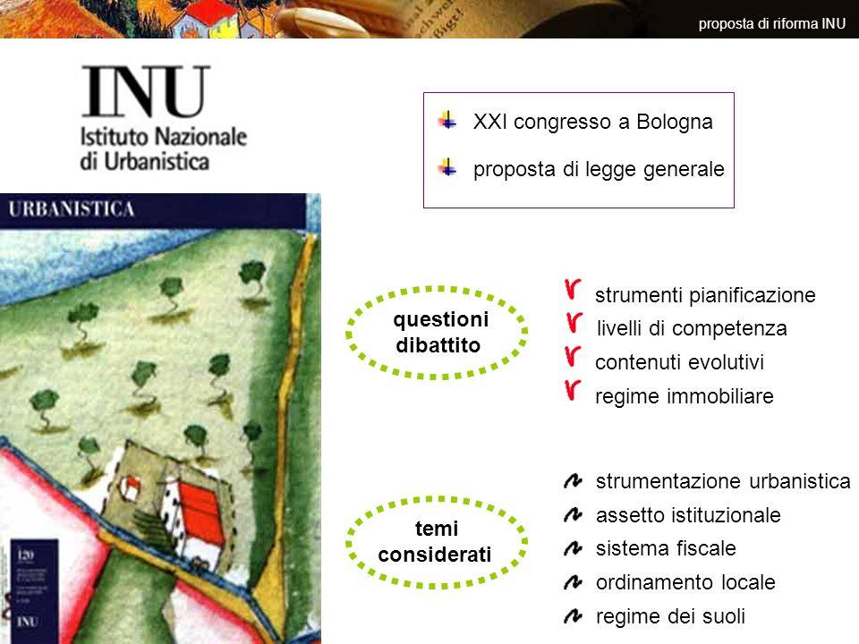proposta di riforma INU XXI congresso a Bologna proposta di legge generale questioni dibattito strumenti pianificazione livelli di competenza contenut