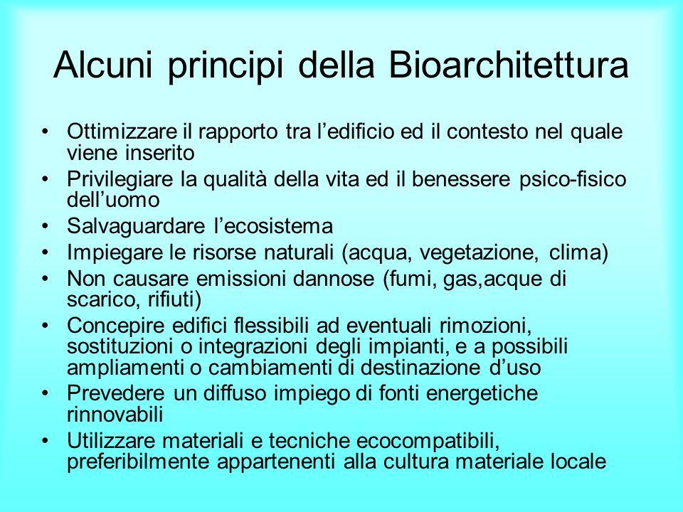Alcuni principi della Bioarchitettura Ottimizzare il rapporto tra ledificio ed il contesto nel quale viene inserito Privilegiare la qualità della vita