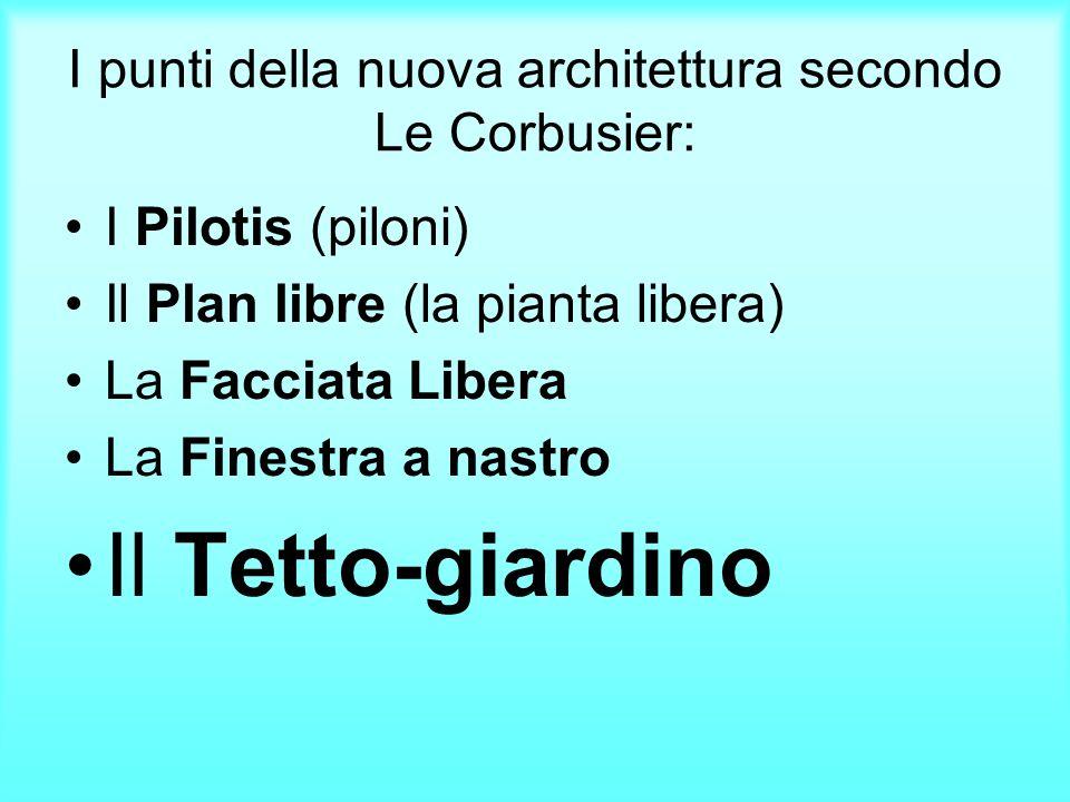 I punti della nuova architettura secondo Le Corbusier: I Pilotis (piloni) Il Plan libre (la pianta libera) La Facciata Libera La Finestra a nastro Il