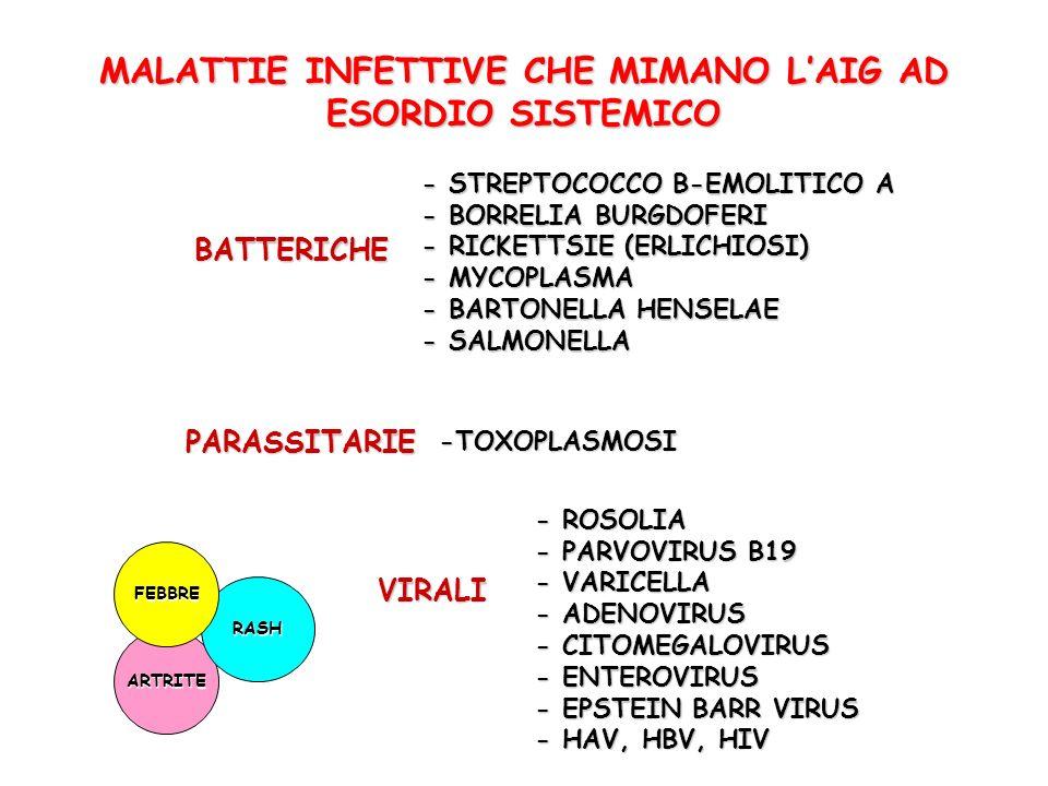 MALATTIE INFETTIVE CHE MIMANO LAIG AD ESORDIO SISTEMICO ARTRITE RASH FEBBRE BATTERICHE - STREPTOCOCCO B-EMOLITICO A - BORRELIA BURGDOFERI - RICKETTSIE