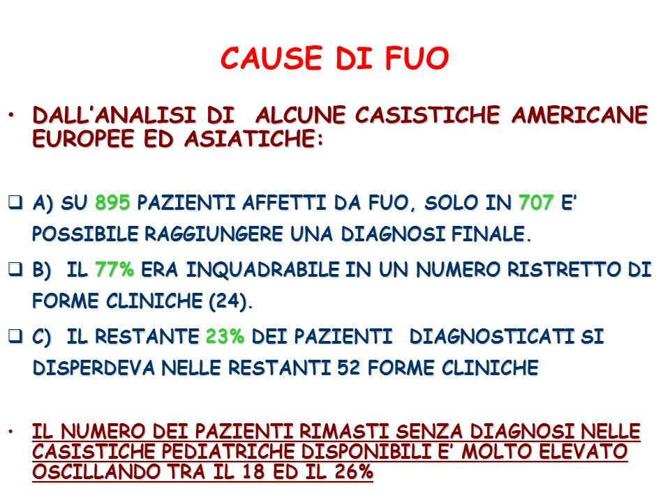 CAUSE DI FUO DALLANALISI DI ALCUNE CASISTICHE AMERICANE EUROPEE ED ASIATICHE:DALLANALISI DI ALCUNE CASISTICHE AMERICANE EUROPEE ED ASIATICHE: A) SU 89
