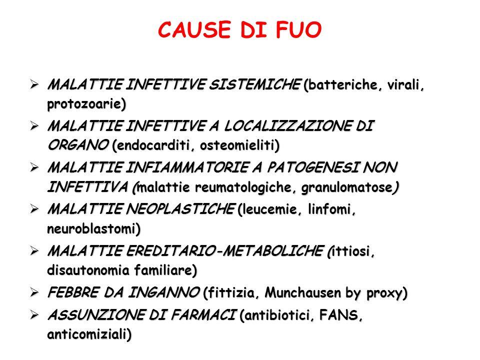 CAUSE DI FUO MALATTIE INFETTIVE SISTEMICHE (batteriche, virali, protozoarie) MALATTIE INFETTIVE SISTEMICHE (batteriche, virali, protozoarie) MALATTIE