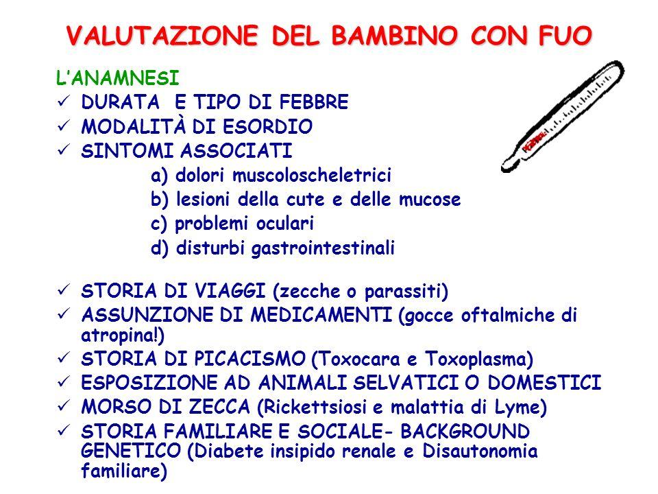 VALUTAZIONE DEL BAMBINO CON FUO LESAME OBIETTIVO DATI AUXOLOGICI PARAMETRI VITALI ESAME OBIETTIVO GENERALE (sudorazione,segni di disidratazione, epatosplenomegalia, linfoadenopatia) ESAME DELLA CUTE E DELLE MUCOSE (afte orali e genitali, eritemi, rash cutanei) ESAME DELLOCCHIO (lacrimazione, arrossamento, proptosi) ESAME ARTICOLARE ESAME DELLA FORZA MUSCOLARE DOLORABILITA MUSCOLARE, OSSEA, SENI PARANASALI E DENTI ESAME DELLANDATURA E NEUROLOGICO