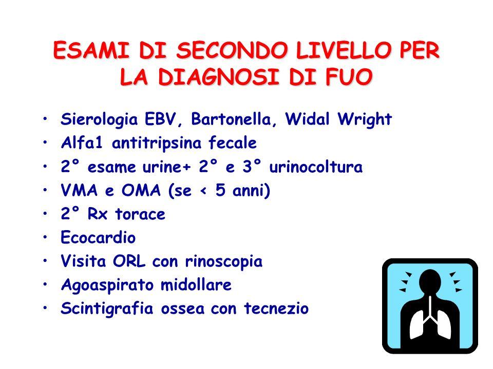 ESAMI DI SECONDO LIVELLO PER LA DIAGNOSI DI FUO Sierologia EBV, Bartonella, Widal Wright Alfa1 antitripsina fecale 2° esame urine+ 2° e 3° urinocoltur