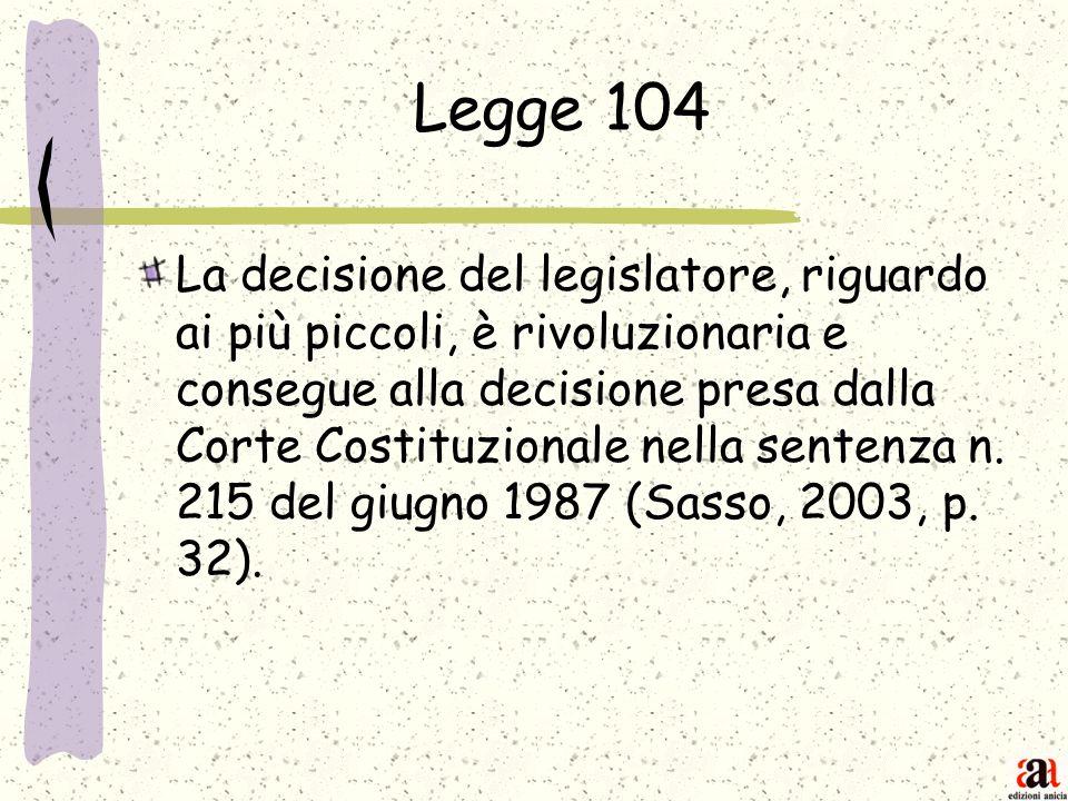 Legge 104 La decisione del legislatore, riguardo ai più piccoli, è rivoluzionaria e consegue alla decisione presa dalla Corte Costituzionale nella sen