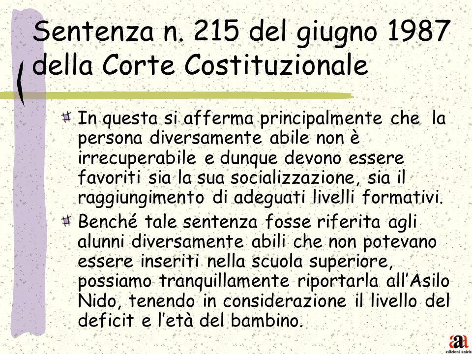 Sentenza n. 215 del giugno 1987 della Corte Costituzionale In questa si afferma principalmente che la persona diversamente abile non è irrecuperabile