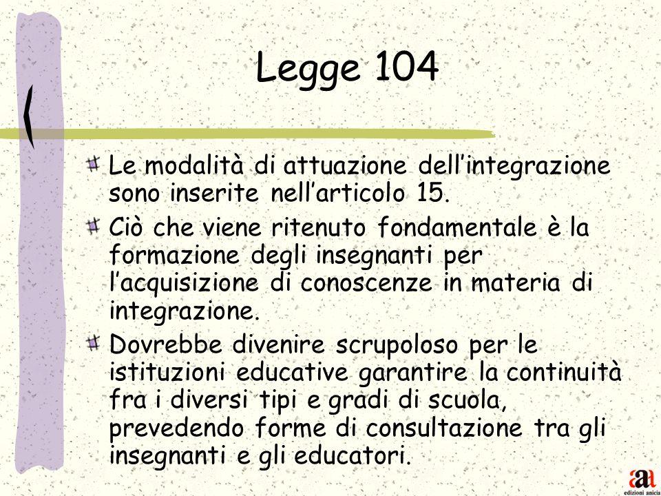 Legge 104 Le modalità di attuazione dellintegrazione sono inserite nellarticolo 15. Ciò che viene ritenuto fondamentale è la formazione degli insegnan