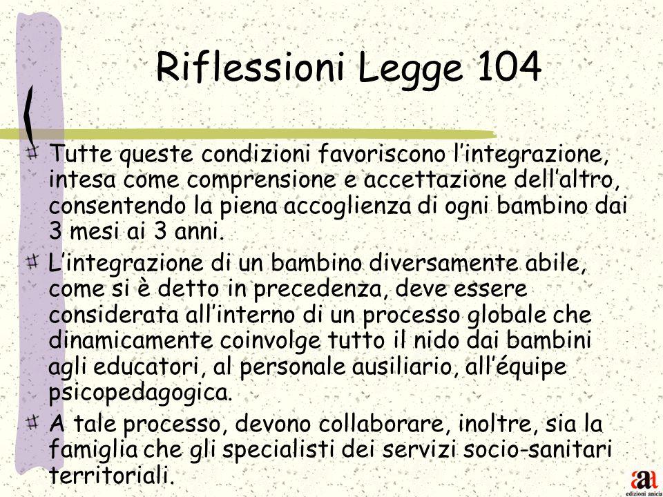 Riflessioni Legge 104 Tutte queste condizioni favoriscono lintegrazione, intesa come comprensione e accettazione dellaltro, consentendo la piena accog