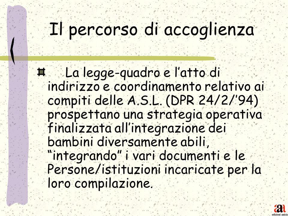 Il percorso di accoglienza La legge-quadro e latto di indirizzo e coordinamento relativo ai compiti delle A.S.L. (DPR 24/2/94) prospettano una strateg
