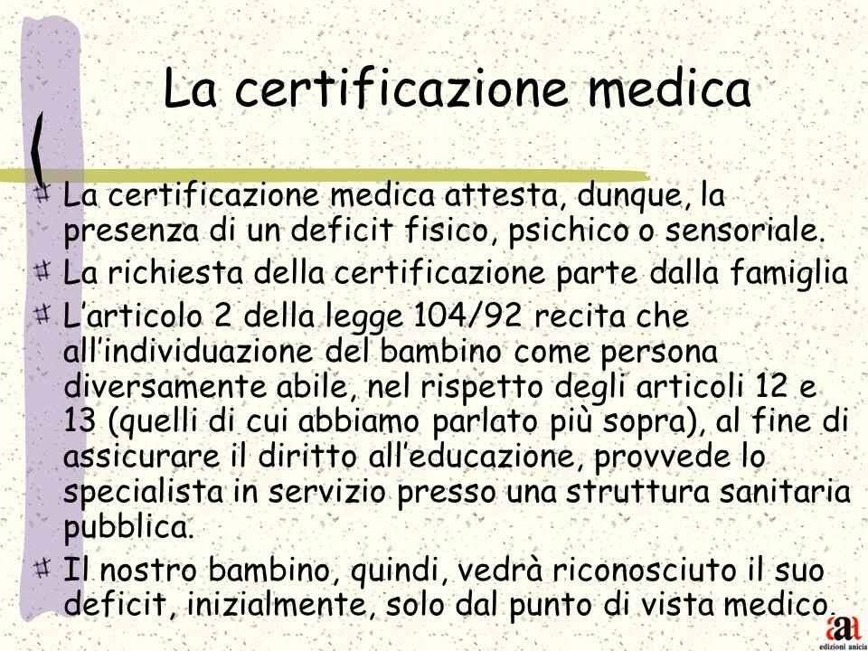 La certificazione medica La certificazione medica attesta, dunque, la presenza di un deficit fisico, psichico o sensoriale. La richiesta della certifi