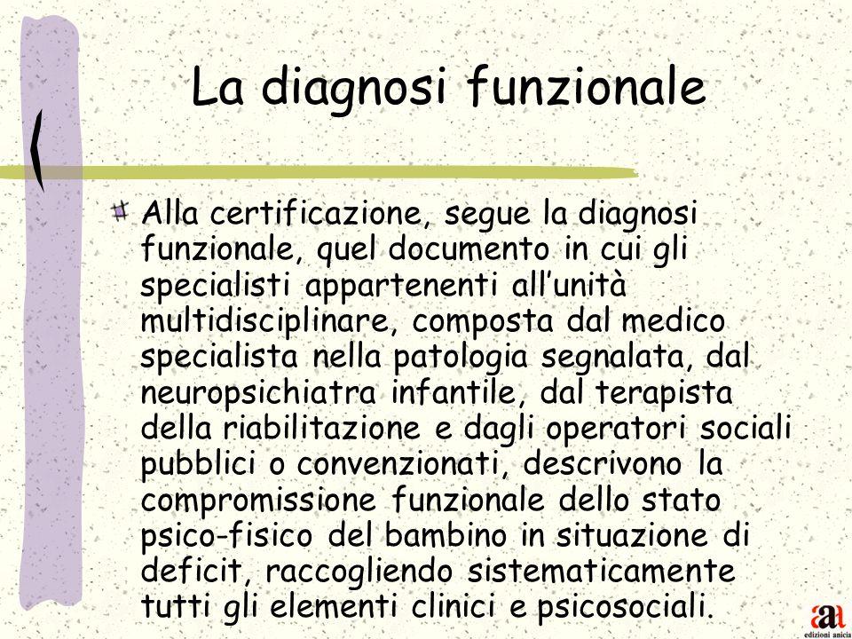 La diagnosi funzionale Alla certificazione, segue la diagnosi funzionale, quel documento in cui gli specialisti appartenenti allunità multidisciplinar