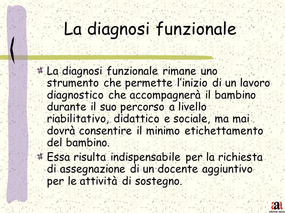 La diagnosi funzionale La diagnosi funzionale rimane uno strumento che permette linizio di un lavoro diagnostico che accompagnerà il bambino durante i