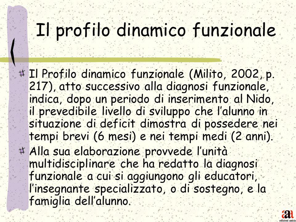 Il profilo dinamico funzionale Il Profilo dinamico funzionale (Milito, 2002, p. 217), atto successivo alla diagnosi funzionale, indica, dopo un period