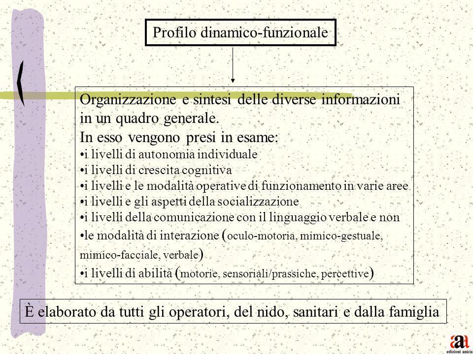 Profilo dinamico-funzionale Organizzazione e sintesi delle diverse informazioni in un quadro generale. In esso vengono presi in esame: i livelli di au