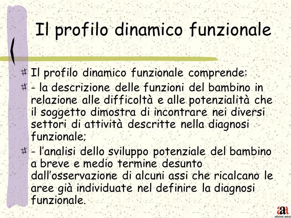 Il profilo dinamico funzionale Il profilo dinamico funzionale comprende: - la descrizione delle funzioni del bambino in relazione alle difficoltà e al