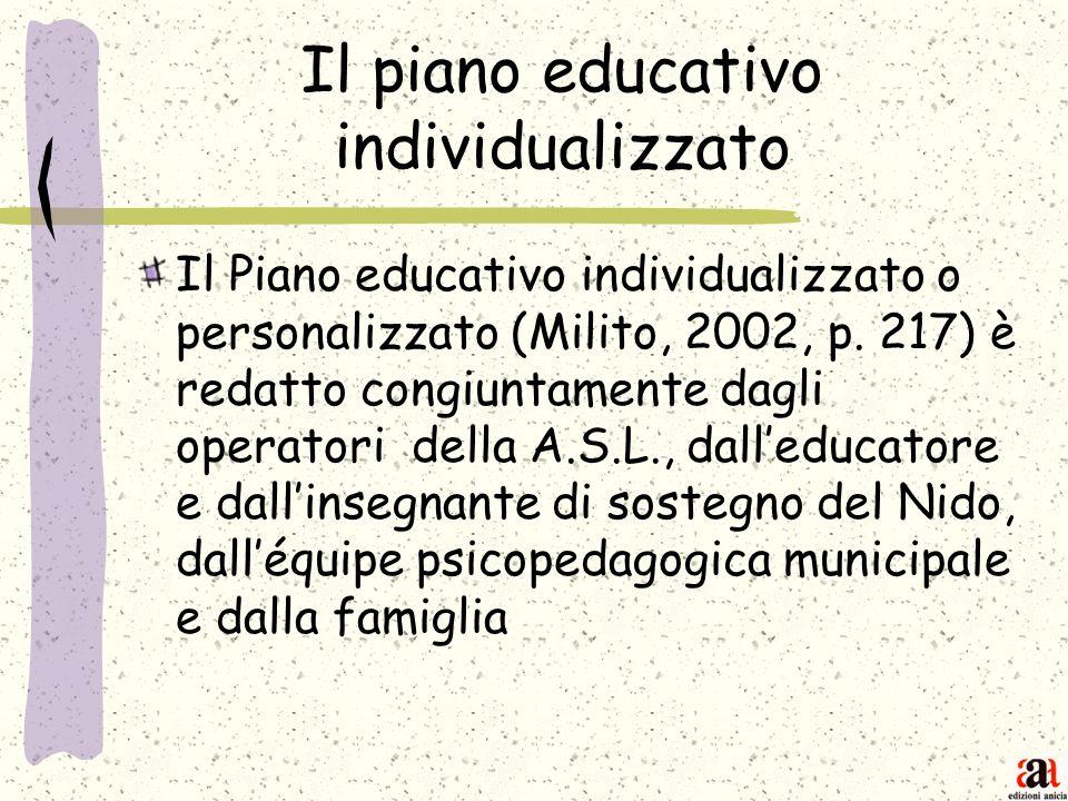 Il piano educativo individualizzato Il Piano educativo individualizzato o personalizzato (Milito, 2002, p. 217) è redatto congiuntamente dagli operato