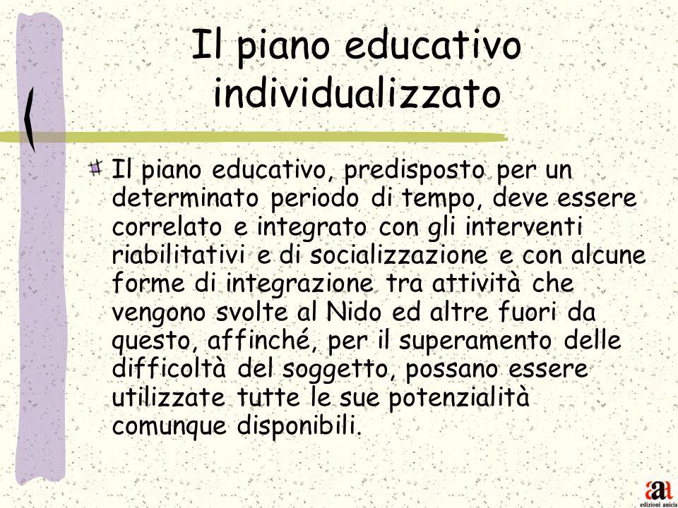 Il piano educativo individualizzato Il piano educativo, predisposto per un determinato periodo di tempo, deve essere correlato e integrato con gli int