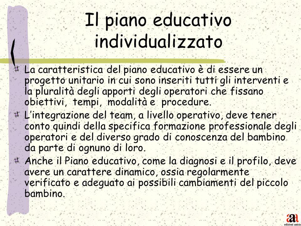 Il piano educativo individualizzato La caratteristica del piano educativo è di essere un progetto unitario in cui sono inseriti tutti gli interventi e