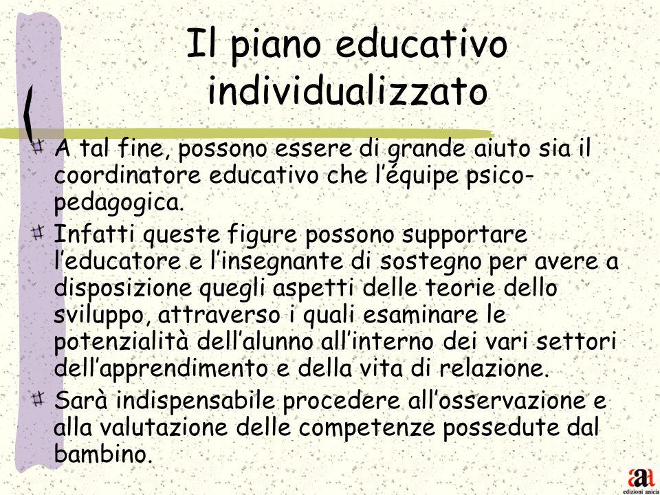Il piano educativo individualizzato A tal fine, possono essere di grande aiuto sia il coordinatore educativo che léquipe psico- pedagogica. Infatti qu