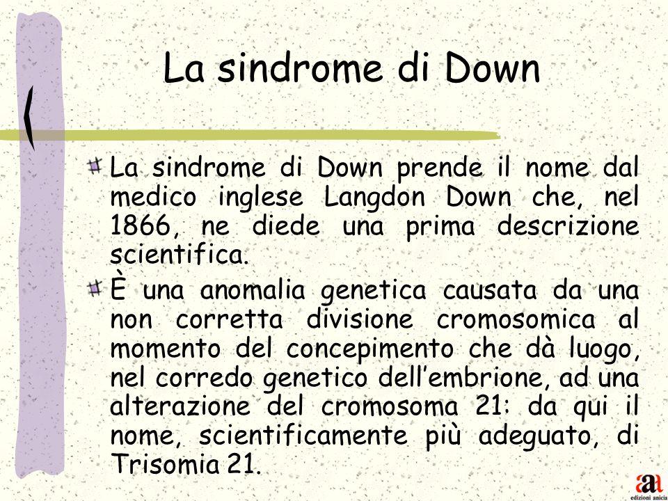 La sindrome di Down La sindrome di Down prende il nome dal medico inglese Langdon Down che, nel 1866, ne diede una prima descrizione scientifica. È un