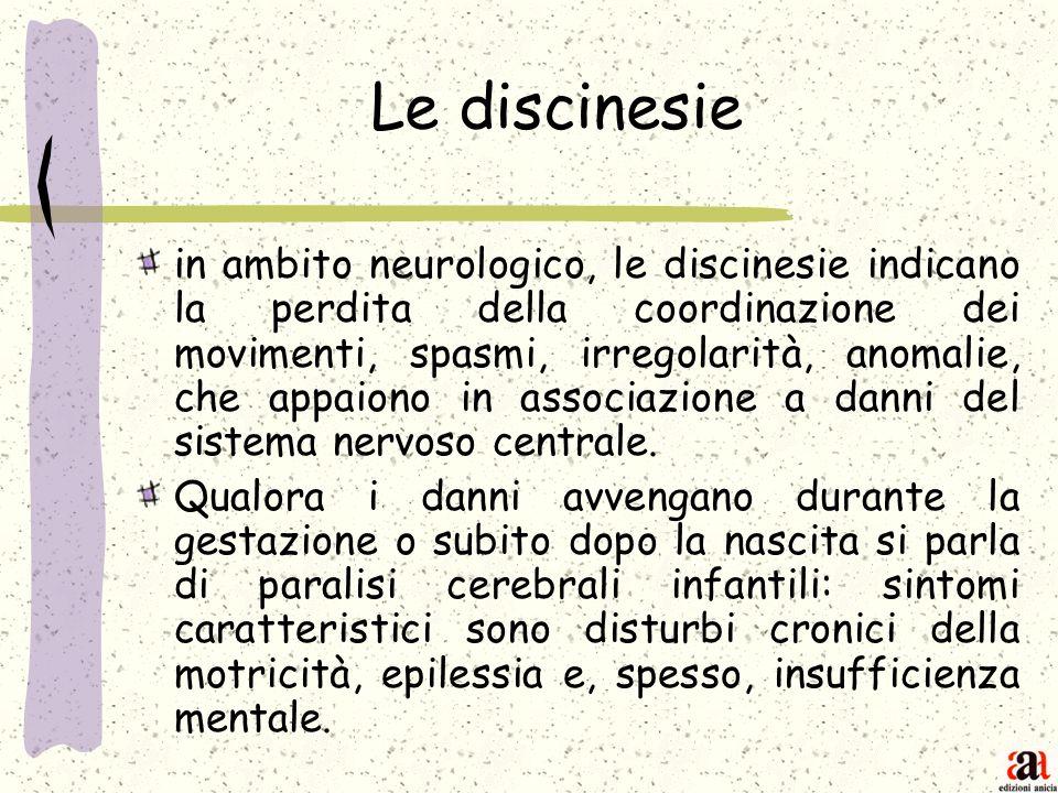 Le discinesie in ambito neurologico, le discinesie indicano la perdita della coordinazione dei movimenti, spasmi, irregolarità, anomalie, che appaiono