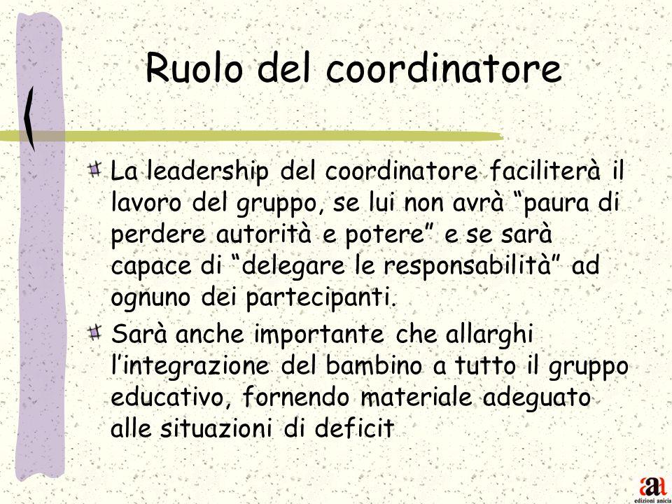 Ruolo del coordinatore La leadership del coordinatore faciliterà il lavoro del gruppo, se lui non avrà paura di perdere autorità e potere e se sarà ca