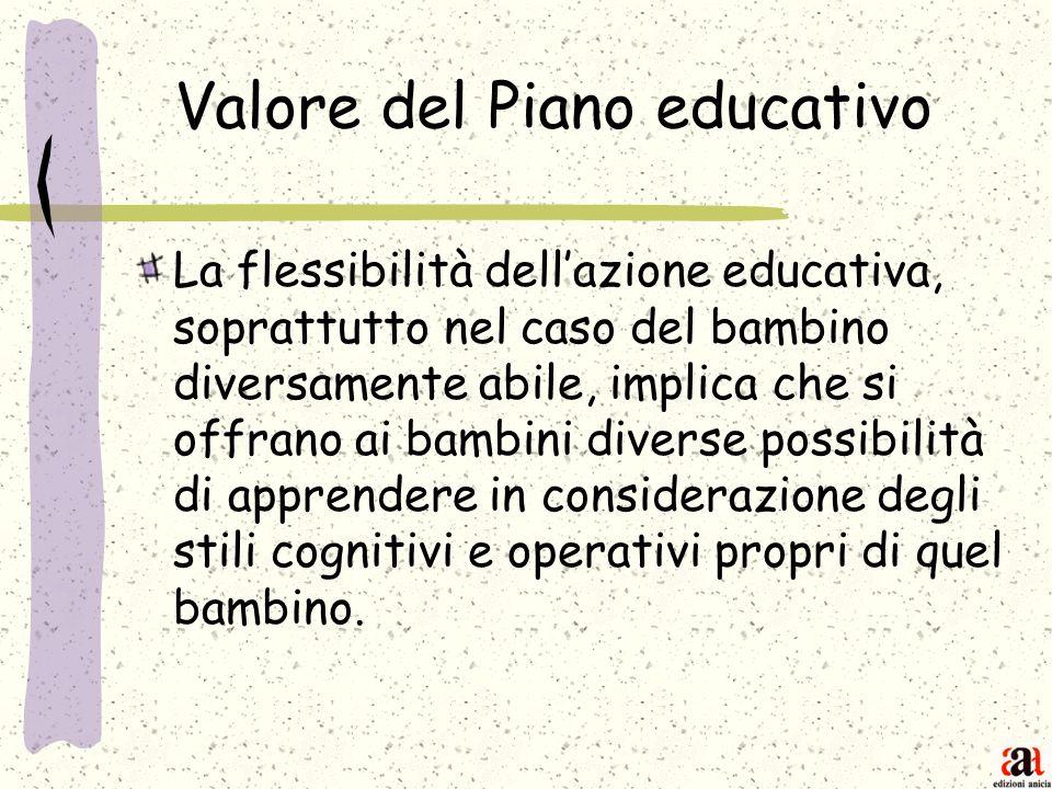 Valore del Piano educativo La flessibilità dellazione educativa, soprattutto nel caso del bambino diversamente abile, implica che si offrano ai bambin