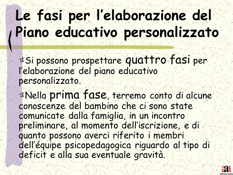 Le fasi per lelaborazione del Piano educativo personalizzato Si possono prospettare quattro fasi per lelaborazione del piano educativo personalizzato.