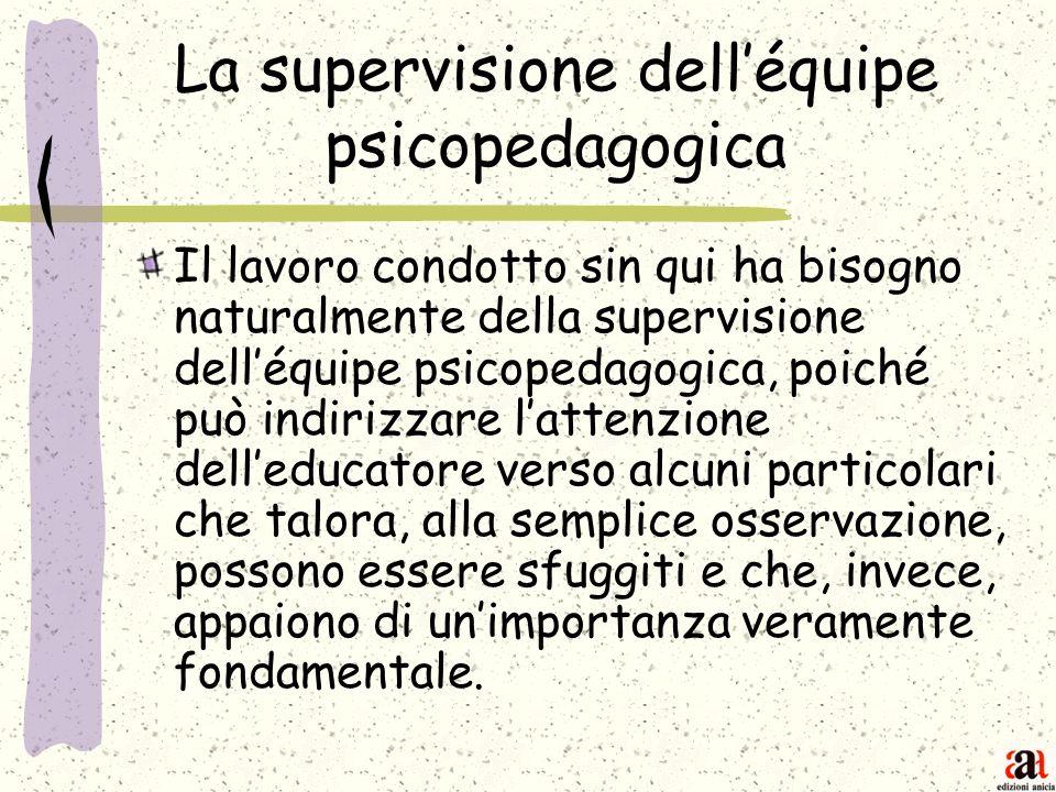 La supervisione delléquipe psicopedagogica Il lavoro condotto sin qui ha bisogno naturalmente della supervisione delléquipe psicopedagogica, poiché pu