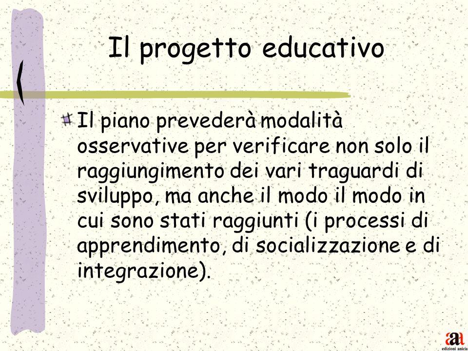 Il progetto educativo Il piano prevederà modalità osservative per verificare non solo il raggiungimento dei vari traguardi di sviluppo, ma anche il mo