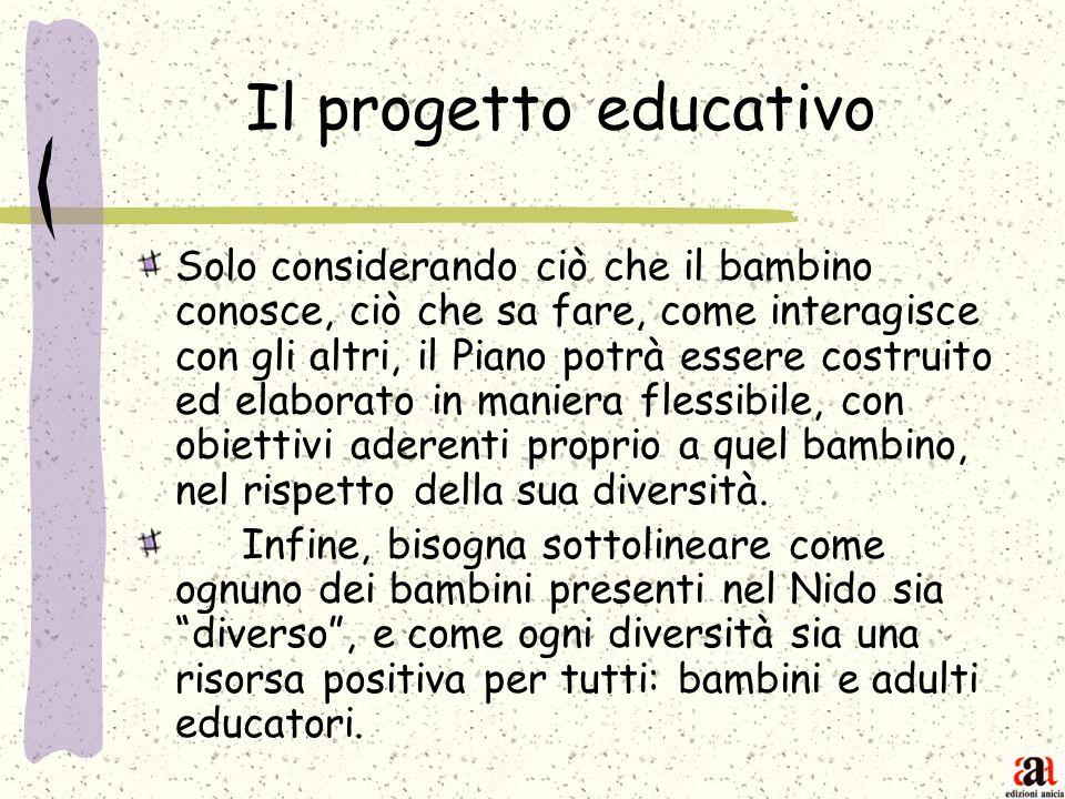 Il progetto educativo Solo considerando ciò che il bambino conosce, ciò che sa fare, come interagisce con gli altri, il Piano potrà essere costruito e