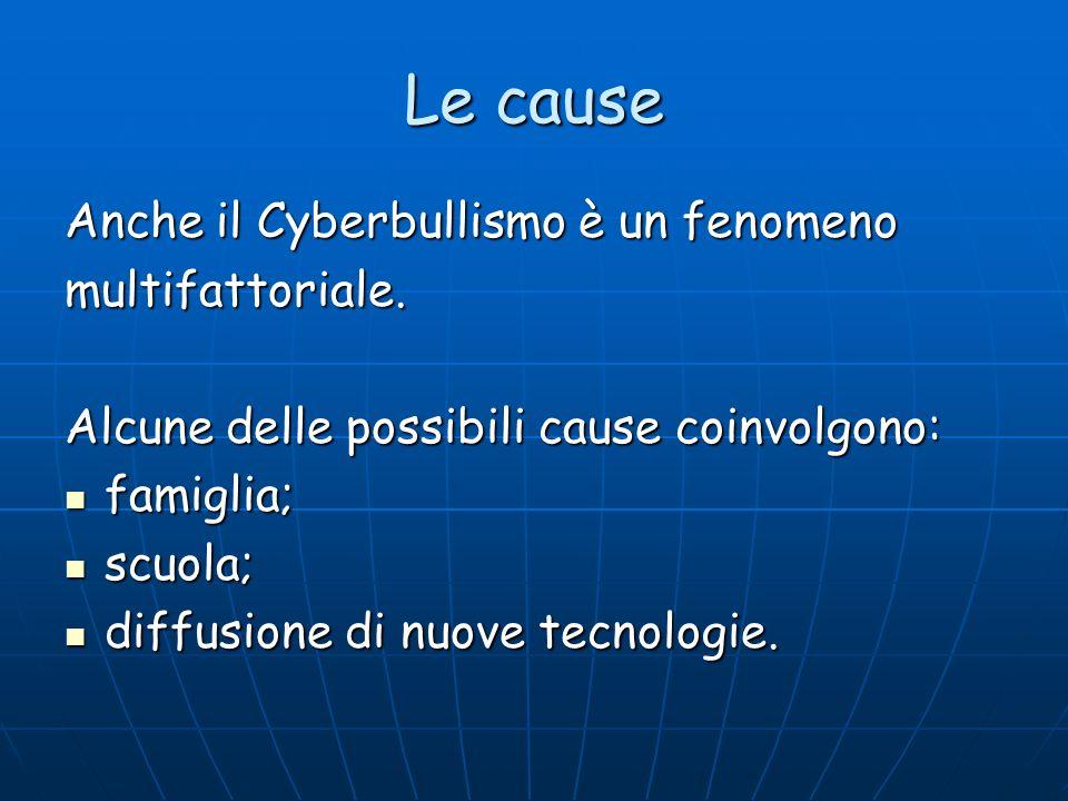 Le cause Anche il Cyberbullismo è un fenomeno multifattoriale. Alcune delle possibili cause coinvolgono: famiglia; famiglia; scuola; scuola; diffusion