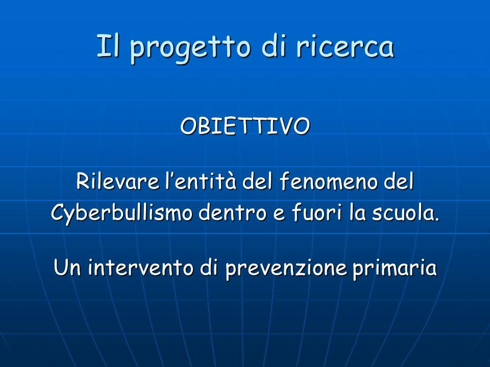Il progetto di ricerca OBIETTIVO Rilevare lentità del fenomeno del Cyberbullismo dentro e fuori la scuola. Un intervento di prevenzione primaria