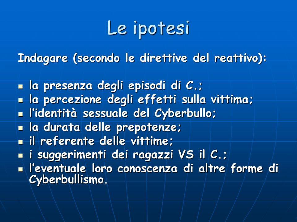 Le ipotesi Indagare (secondo le direttive del reattivo): la presenza degli episodi di C.; la presenza degli episodi di C.; la percezione degli effetti