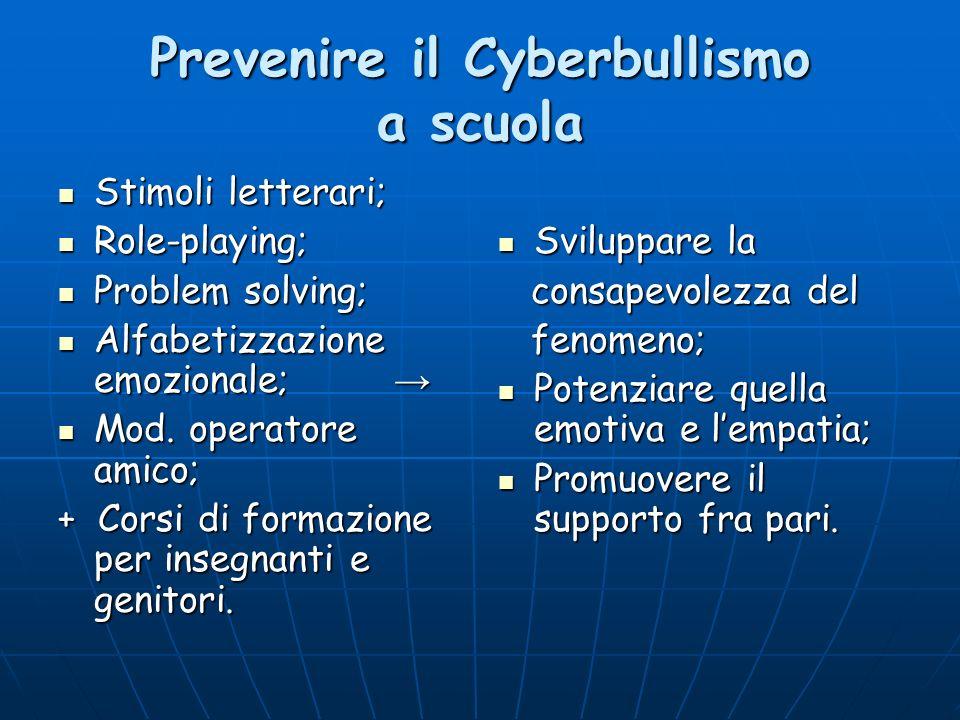 Prevenire il Cyberbullismo a scuola Stimoli letterari; Stimoli letterari; Role-playing; Role-playing; Problem solving; Problem solving; Alfabetizzazio