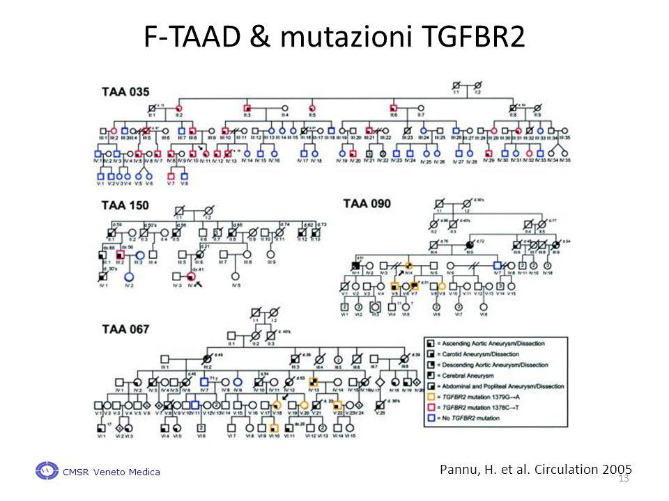 Pannu, H. et al. Circulation 2005 F-TAAD & mutazioni TGFBR2 CMSR Veneto Medica 13
