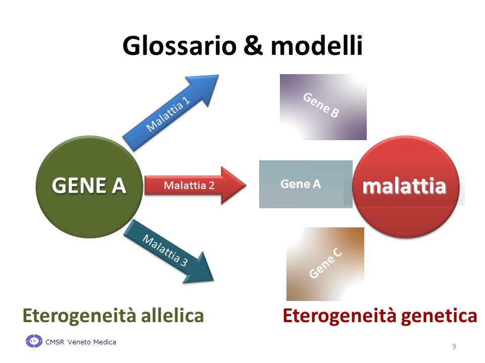 9 Glossario & modelli malattia Gene A Gene B Gene C Eterogeneità genetica CMSR Veneto Medica Malattia 1 Malattia 2 Malattia 3 Eterogeneità allelica