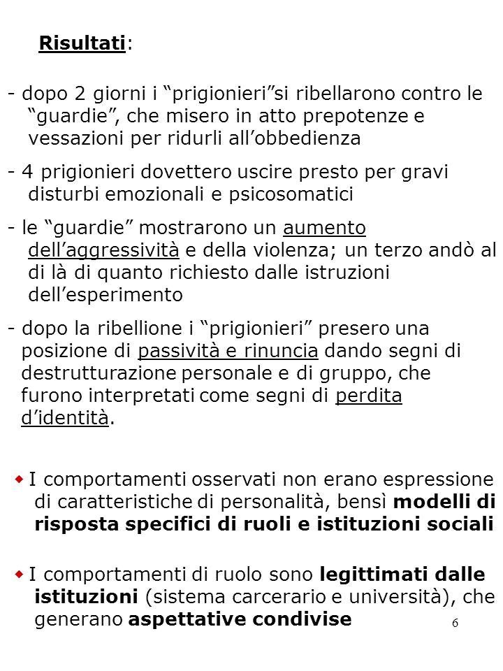 6 Risultati: - dopo 2 giorni i prigionierisi ribellarono contro le guardie, che misero in atto prepotenze e vessazioni per ridurli allobbedienza - 4 p