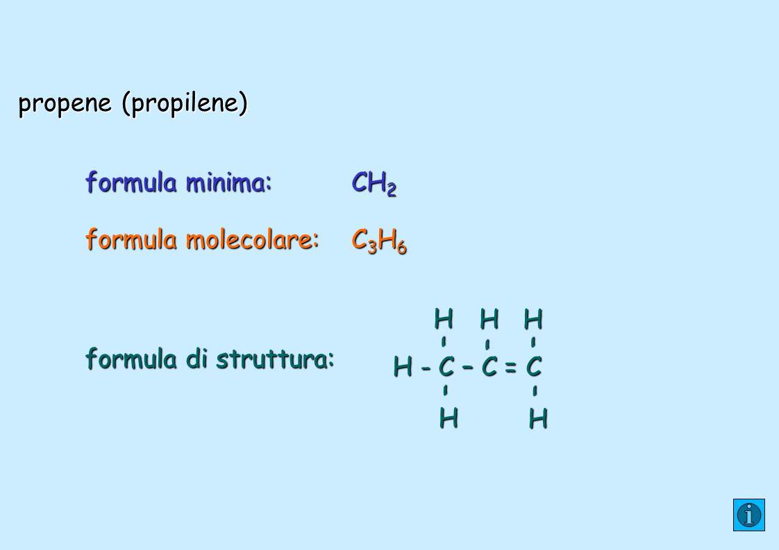 propene (propilene) formula minima:CH 2 formula molecolare:C 3 H 6 formula di struttura: H - C – C = C H– H – H – H – H –
