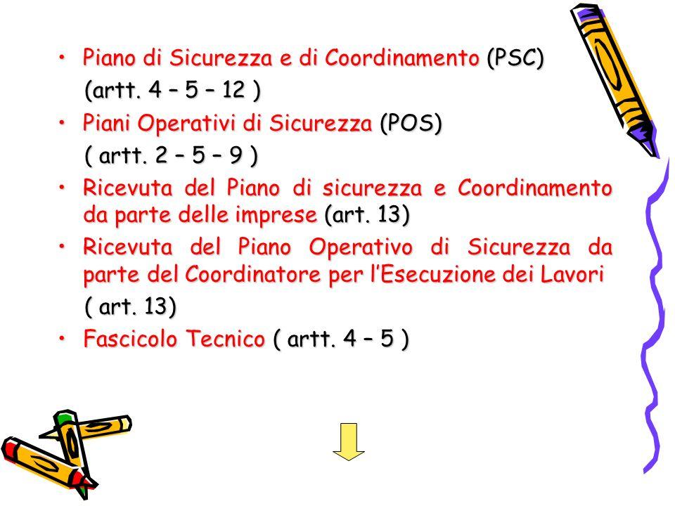 Piano di Sicurezza e di Coordinamento (PSC)Piano di Sicurezza e di Coordinamento (PSC) (artt. 4 – 5 – 12 ) (artt. 4 – 5 – 12 ) Piani Operativi di Sicu