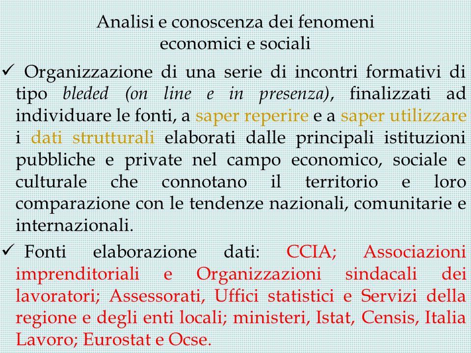 Analisi e conoscenza dei fenomeni economici e sociali Organizzazione di una serie di incontri formativi di tipo bleded (on line e in presenza), finali