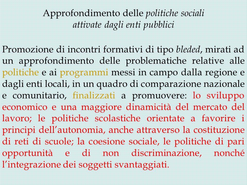 Approfondimento delle politiche sociali attivate dagli enti pubblici Promozione di incontri formativi di tipo bleded, mirati ad un approfondimento del