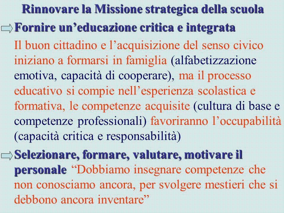 Rinnovare la Missione strategica della scuola Fornire uneducazione critica e integrata Il buon cittadino e lacquisizione del senso civico iniziano a f