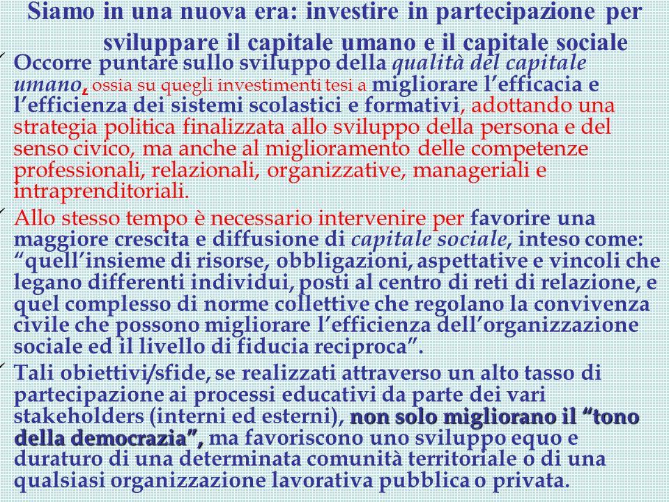 Siamo in una nuova era: investire in partecipazione per sviluppare il capitale umano e il capitale sociale Occorre puntare sullo sviluppo della qualit